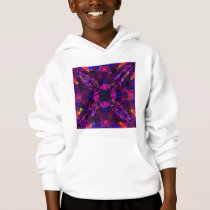 Kids Hooded Sweatshirt Fractal Pattern Purple Blue