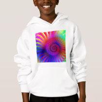 Kids Hooded Sweatshirt - Psychedelic Fractal pink