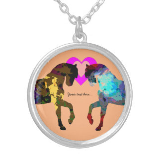 Kids Horse and Hearts Silver Plated Necklace
