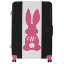 Kids Hot Pink Bunny Silhouette Cute Monogrammed Luggage