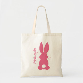 Kids Hot Pink Bunny Silhouette Easter Personalized Tote Bag