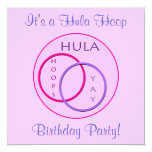 Kids Hula Hoop Birthday Party 5.25x5.25 Square Paper Invitation Card