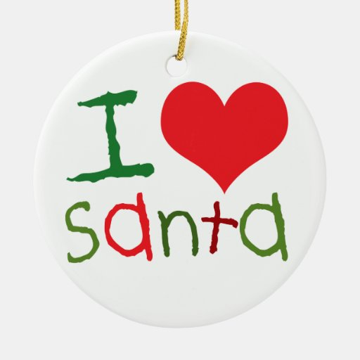 Kids I Heart Santa Round Ornament