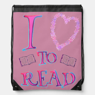 kids I love (heart) To Read Drawstring Backpack