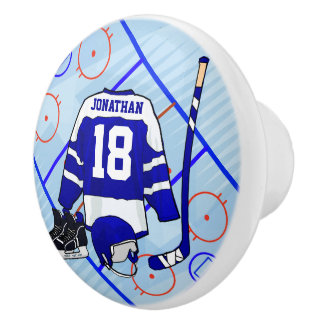 Kids Ice Hockey Bedroom and En Suite collection Ceramic Knob