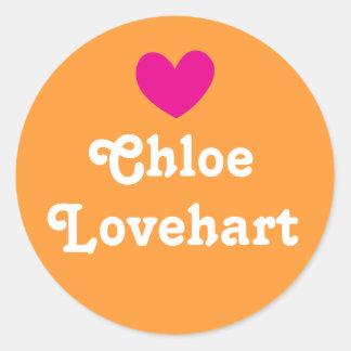 Kids id name heart pink orange white girls sticker