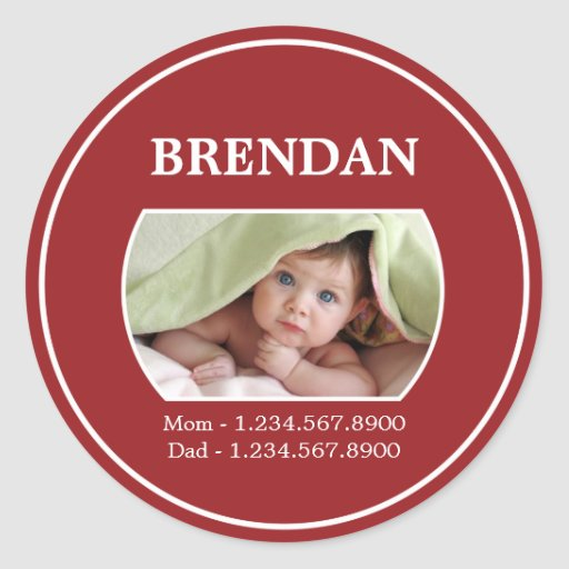 Kids ID sticker with contact details