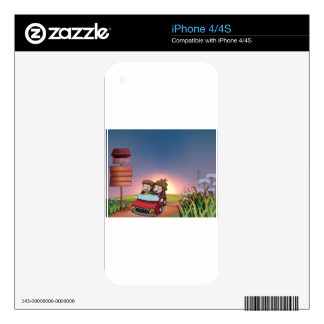 Kids in a car, notice board and a letter box skins for iPhone 4S