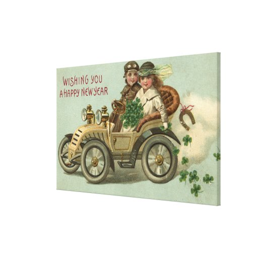 Kids in a Car with Shamrocks Canvas Print