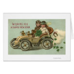Kids in a Car with Shamrocks Greeting Card