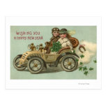 Kids in a Car with Shamrocks Postcard