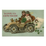 Kids in a Car with Shamrocks Poster