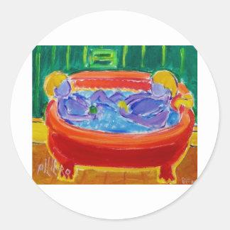 Kids in Bath Classic Round Sticker