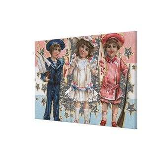 Kids in Blue, White and Pink Canvas Print