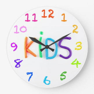 Kids in Clay with Chalk Numbers Wall Clock