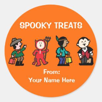 Kid's in Halloween Costume Classic Round Sticker