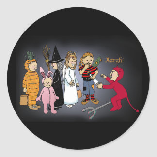 Kids in Halloween costumes. Classic Round Sticker