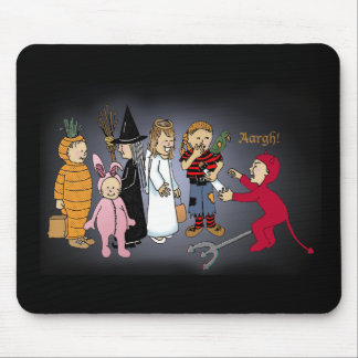 Kids in Halloween costumes. Mouse Pad