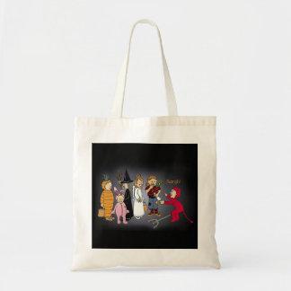 Kids in Halloween costumes. Tote Bags