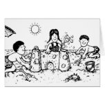Kids in Sand Greeting Cards