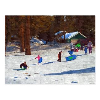 Kids in Snow Postcard
