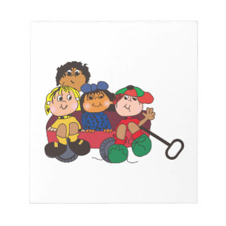 Kids in Wagon Note Pad