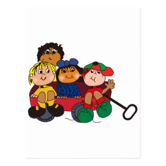 Kids in Wagon Postcard