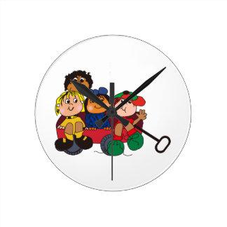 Kids in Wagon Round Clock