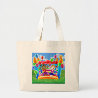 Kids Jumping on Bouncy Castle Large Tote Bag