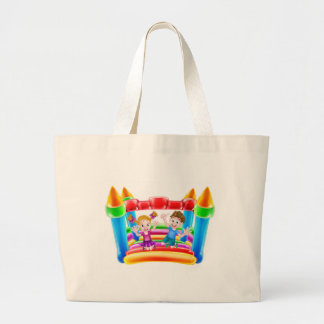 Kids Jumping on Inflatable Castle Large Tote Bag