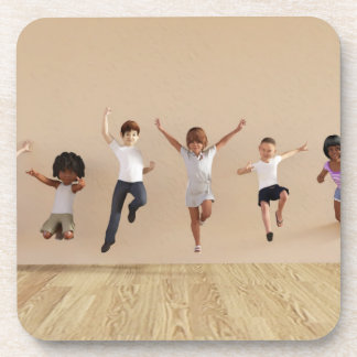 Kids Jumping Playing Inside the House Illustration Beverage Coaster