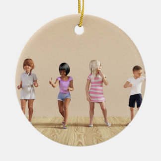 Kids Jumping Playing Inside the House Illustration Ceramic Ornament