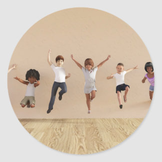 Kids Jumping Playing Inside the House Illustration Classic Round Sticker