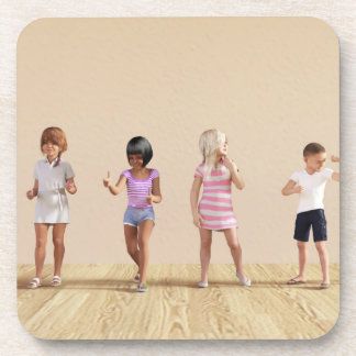 Kids Jumping Playing Inside the House Illustration Drink Coaster