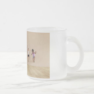 Kids Jumping Playing Inside the House Illustration Frosted Glass Coffee Mug