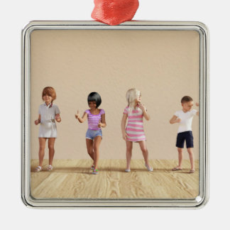 Kids Jumping Playing Inside the House Illustration Metal Ornament