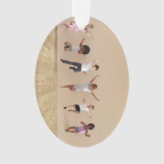 Kids Jumping Playing Inside the House Illustration Ornament