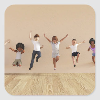 Kids Jumping Playing Inside the House Illustration Square Sticker