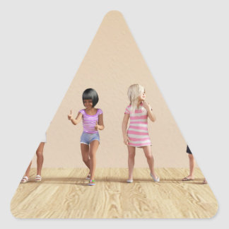 Kids Jumping Playing Inside the House Illustration Triangle Sticker