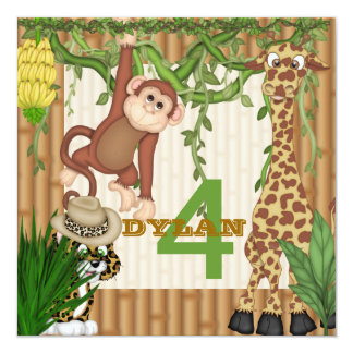 Kids Jungle Safari 4th Birthday  Invitation Templa