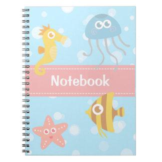 Kids: Kawaii & Colorful Underwater Animals Theme Spiral Notebook