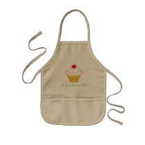 Kid's Khaki Custom Apron I Love Baking Club