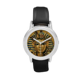 Kids King Tut Egyptian Black Leather Strap Watch