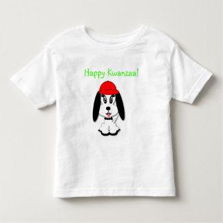Kids Kwanzaa Tshirt Kute Doggy w Red Baseball Hat