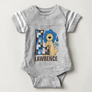 "Kids ""L"" Monogram | Blue Patchwork Lion Tee Shirts"