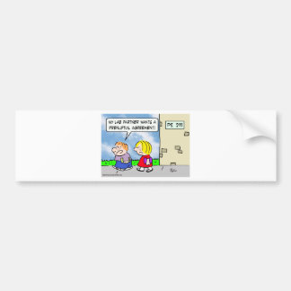 Kid's lab partner wants prenuptial agreement bumper sticker