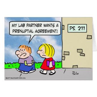 Kid's lab partner wants prenuptial agreement card