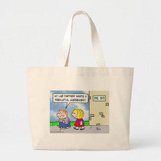 Kid's lab partner wants prenuptial agreement large tote bag