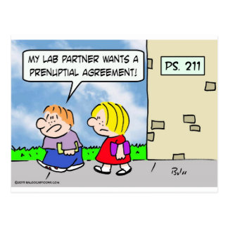 Kid's lab partner wants prenuptial agreement postcard