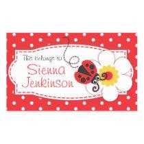 kids ladybug book plate or id name label sticker